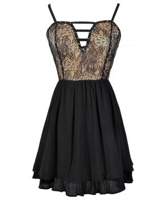 Cute Black Lace Dress, Black Lace A-Line Dress, Black and Beige Party Dress, Cute Black Lace Dress, Lace Party Dress, Cute Juniors Dress