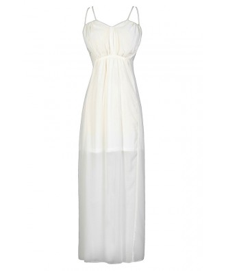 Off White Maxi Dress, Ivory Maxi Dress, Off White Chiffon Dress, Ivory Prom Dress, Ivory Maxi Dress