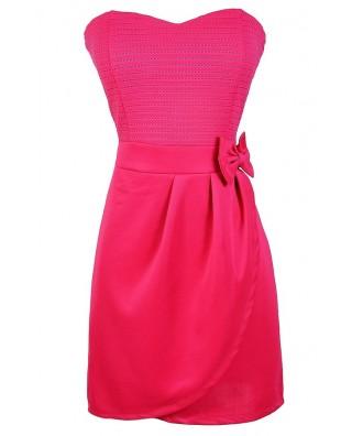 Hot Pink Dress, Cute Pink Bow Dress, Hot Pink Party Dress, Pink Strapless Dress, Cute Pink Summer Dress