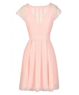 Cute Pink Dress, Pink Lace Dress, Pale Pink Summer Dress, Pink A-Line Dress, Blush Pink Lace Dress, Pink Party Dress, Cute Pink Dress