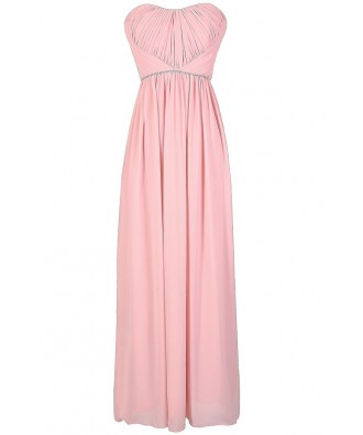 Pale Pink Maxi Dress, Pink Rhinestone Prom Dress, Pale Pink Chiffon Maxi Prom Dress, Pale Pink Prom Dress, Pink Embellished Maxi Dress