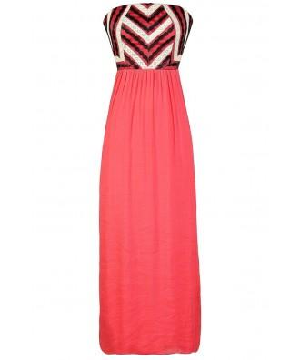 Cute Coral Dress, Cute Maxi Dress, Coral Maxi Dress, Coral Crochet Lace Dress, Coral and Black Maxi Dress, Coral Summer Dress