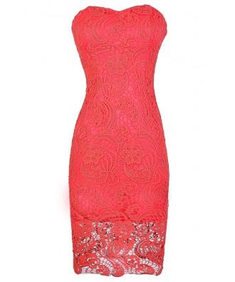 Crochet Lace Strapless Dress, Coral Crochet Lace Dress, Cute Coral Dress, Coral Lace Dress, Coral Crochet Lace Pencil Dress, Coral Summer Dress, Coral Strapless Dress, Coral Strapless Lace Dress