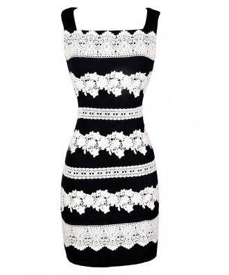 Navy Lace Dress, Stripe Lace Dress, Navy Lace Sheath Dress, Navy and Ivory Lace Dress, Navy and Ivory Crochet Lace Dress, Cute Navy Dress