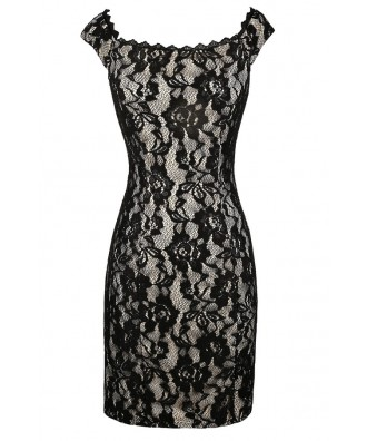 Black Lace Dress, Black Lace Off Shoulder Dress, Black Lace Pencil Dress, Fitted Black Lace Dress, Black and Beige Lace Dress, Black and Beige Lace Party Dress