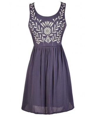 Cute Blue Dress, Blue and Ivory Dress, Blue Embroidered Dress, Blue Sundress, Cute Blue Summer Dress, Blue and White Dress, Blue Branch Dress