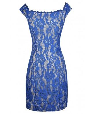 Bright Blue Lace Dress, Blue Lace Pencil Dress, Blue Lace Off Shoulder Dress, Blue Lace Fitted Dress, Cute Bright Blue Lace Dress, Blue Lace Party Dress