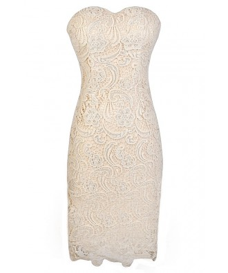 Beige Lace Dress, Beige Strapless Lace Dress, Beige Lace Strapless Pencil Dress, Cute Rehearsal Dinner Dress, Ivory Lace Rehearsal Dinner Dress, Beige Crochet Lace Dress