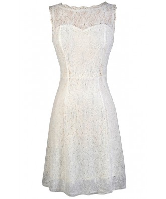 White Lace Dress, Cute White Dress, White Lace Rehearsal Dinner Dress, White Lace Bridal Shower Dress, White Lace Party Dress