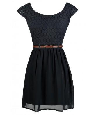 Cute Navy Dress, Navy Lace Dress, Belted Navy Lace Dress, Navy Lace Sundress, Navy Lace Party Dress