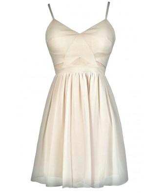 Cute Beige Dress, Beige Party Dress, Beige A-Line Dress, Beige Cocktail Dress, Beige Summer Dress, Off White Party Dress, Off White Cocktail Dress, Off White A-Line Dress