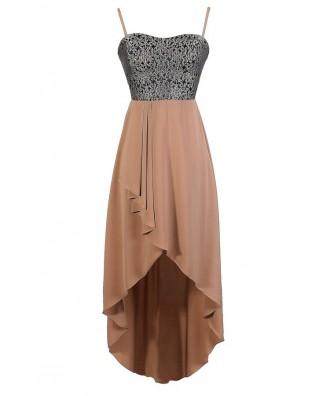Mocha Brocade Dress, Mocha Floral Dress, Mocha high Low Dress, Taupe High Low Dress