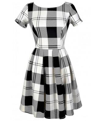 Black and White Plaid Dress, Cute Plaid Dress, Black and Ivory Plaid Dress, Black and White Plaid A-Line Dress, Black and Ivory Plaid A-Line Dress