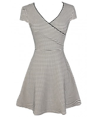 Cute Black and White Dress, Black and White Checkered Dress, Black and White Square Dress, Black and White Pattern Dress, Black and White A-Line Dress, Black and White Sundress, Black and White Party Dress