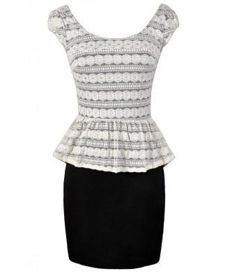 Black and Ivory Peplum Pencil Dress, Cute Black and Ivory Dress, Black and Ivory Lace Dress, Lace Peplum Pencil Dress, Peplum Pencil Dress