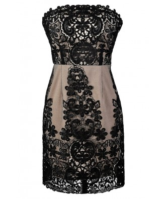 Black Lace Dress, Cute Black Dress, Black and Nude Lace Dress, Black Crochet Lace Dress, Strapless Black Lace Dress