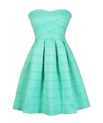 Mint Party Dress, Mint A-Line Dress, Cute Mint Dress, Aqua A-Line Dress, Aqua Party Dress