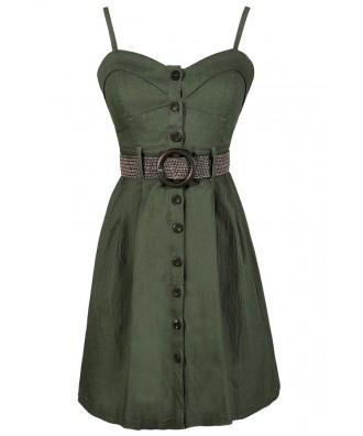 Green Belted Dress, Safari Style Dress, Safari Dress, Military Style Dress, Green Military Dress, Olive Green Belted Dress, Green Button Down Dress, Green A-Line Dress, Cute Fall Dress, Cute Summer Dress