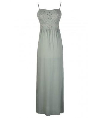 Sage Maxi Dress, Green Maxi Dress, Embroidered Maxi Dress, Aztec Maxi Dress, Tribal Maxi Dress, Cute Maxi Dress