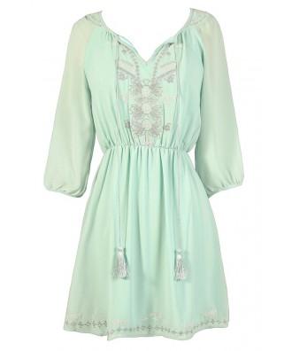 Cute Mint Dress, Mint Summer Dress, Mint Embroidered Dress, Mint Party Dress, Mint A-Line Dress, Mint Chiffon Dress