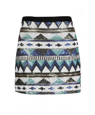 Sequin Mini Skirt, Cute Sequin Skirt, Aztec Sequin Skirt, Tribal Sequin Skirt, Aztec Pattern Skirt, Tribal Pattern Skirt, Geometric Sequin Skirt