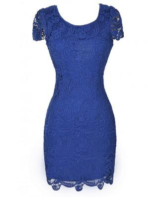 Bright Blue Lace Dress, Blue Lace Pencil Dress, Royal Blue Pencil Dress, Blue Lace Dress