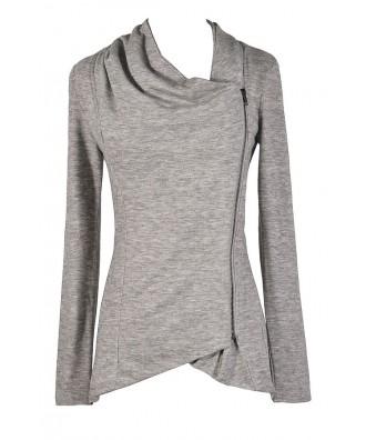 Grey Crossover Cardigan, Cute Grey Cardigan, Grey Sweater, Crossover Zip Cardigan, Cute Fall Top, Cute Fall Outfit