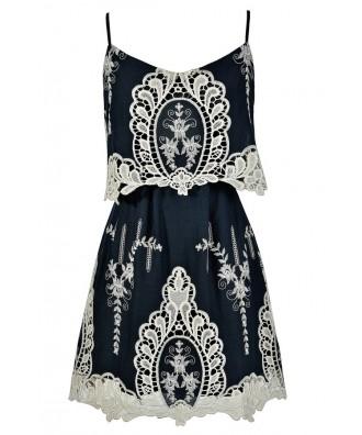 Navy Lace Dress, Cute Navy Dress, Navy Sundress, Navy Crochet Lace Dress, Navy Summer Dress, Cute Summer Dress