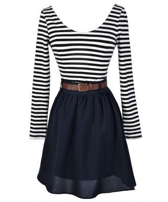 Belted Stripe Dress, Navy Stripe Dress, Cute Fall Dress, Navy A-Line Stripe Dress, A-Line Stripe Dress, Colorblock Stripe Dress, Navy Colorblock Stripe Dress
