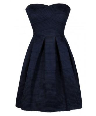 Navy Party Dress, Cute Navy Dress, Navy A-Line Dress, Navy Strapless Dress, Navy Cocktail Dress