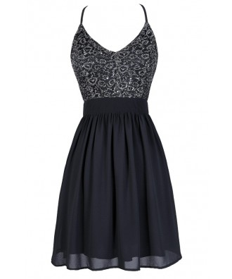 Grey Party Dress, Grey Sequin Party Dress, Dark Grey Party Dress, Dark Grey A-Line Dress, Grey Sequin Dress, Grey Cocktail Dress
