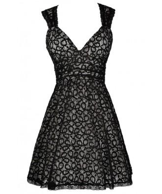 Black Sequin Lace Dress, Black Lace A-Line Dress, Cute Black Dress, Black Lace Dress, Black Lace Party Dress, Black Lace Cocktail Dress, Little Black Dress