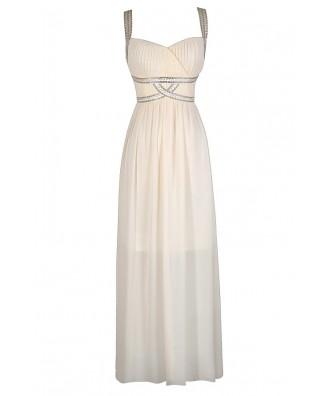 Ivory Maxi Dress, Off White Maxi Dress, Embellished Maxi Dress, Ivory Prom Dress, Cute Prom Dress, Off White Prom Dress, Beaded Prom Dress, Cute Formal Dress