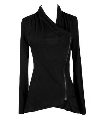 Cute Black Cardigan, Cute Black Jacket, Black Crossover Cardigan, Black Crossover Jacket, Cute Fall Jacket, Cute Black Fall Top