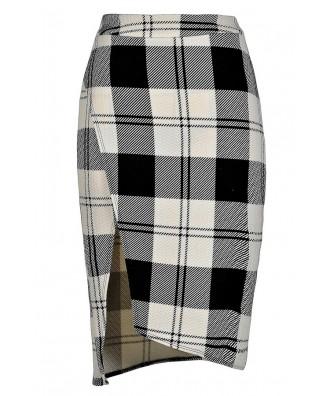 Black and White Plaid Skirt, Black and Ivory Plaid Skirt, Cute Plaid Skirt, Plaid Pencil Skirt, Crossover Pencil Skirt, Plaid Printed Skirt