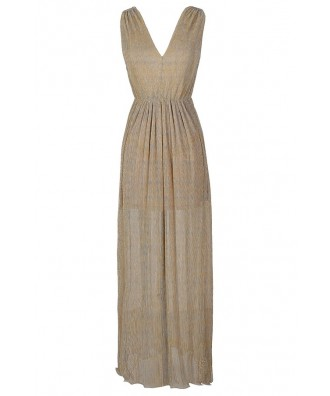 Gold Maxi Dress, Gold Shimmer Maxi Dress, Gold Formal Maxi Dress, Gold Pleated Maxi Dress, Gold Prom Dress, Gold Holiday Dress, Gold Formal Dress