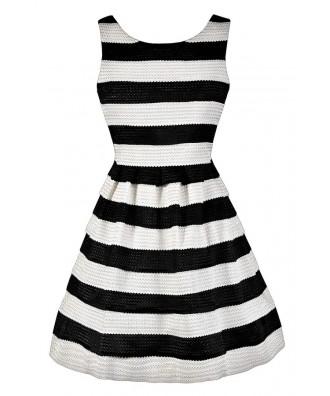 Black and White Stripe Dress, Black and Ivory Stripe Dress, Cute Black and White Dress, Black and White Stripe A-Line Dress