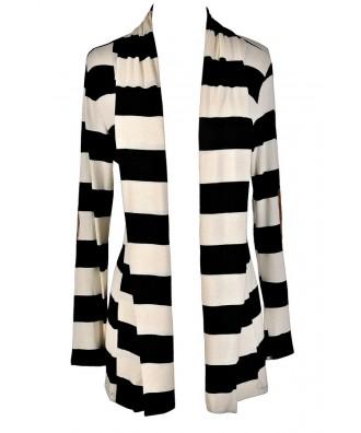 Black and Ivory Stripe Cardigan, Black and White Stripe Cardigan, Patch Elbow Cardigan, Black and White Stripe Cardigan with Elbow Patch, Elbow Patch Cardigan, Cute Black and White Cardigan