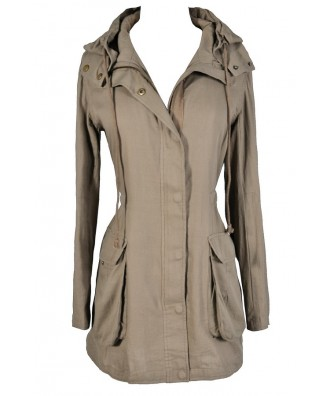 Beige Anorak Jacket, Cute Beige Jacket, Beige Hiking Jacket, Cute Taupe Jacket, Taupe Anorak