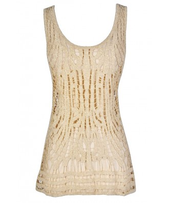 Gold Metallic Crochet Top, Gold Crochet Top, Gold Crochet Open Knit Top, Gold Metallic Crochet Tank Top