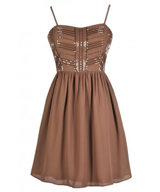 Mocha Party Dress, Cute Party Dress, Beaded Party Dress, Taupe Party Dress, Taupe Beaded Party Dress, Taupe A-Line Dress, Mocha A-Line Dress, Cute Cocktail Dress, Cute New Years Dress, Brown Party Dress, Brown Beaded Dress