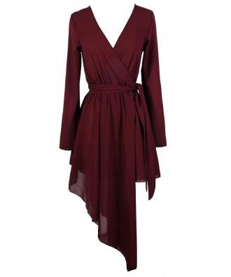 Cute Wrap Dress, Cute Holiday Dress, Cute Christmas Dress, Cute Party Dress, Avante Garde Dress, Burgundy Wrap Dress, Asymetrical Wrap Dress,