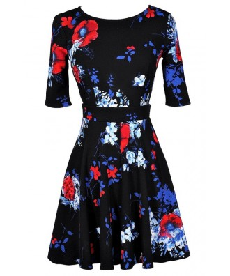 Floral Print A-Line Dress, Black Floral Print Dress, Cute Floral Print Dress, Cute Summer Dress, Cute Holiday Dress, Cute Christmas Dress, Floral Print A-Line Dress