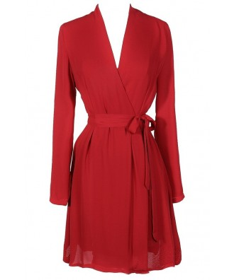 Cute Red Dress, Red Wrap Dress, Red Longsleeve Wrap Dress, Cute Holiday Dress, Cute Christmas Dress, Cute Christmas Party Dress, Longsleeve Red Dress, Longsleeve Red Wrap Dress