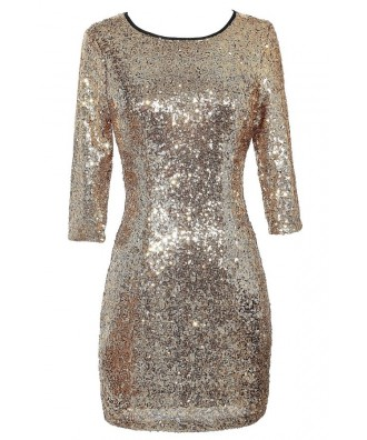 Cute Gold Dress, Gold Sequin Dress, Gold Sequin Party Dress, Gold Sequin Cocktail Dress, Cute New Years Dress, Cute Holiday Dress, Gold Sequin Bodycon Dress, Gold Sequin Pencil Dress, Gold Sequin Dress With Sleeves
