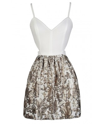 Gold and White Party Dress, Gold and White Sequin Dress, Cute New Years Dress, Cute Holiday Dress, Cute Christmas Dress, Gold and White Open Back Dress, Gold and White Cocktail Dress