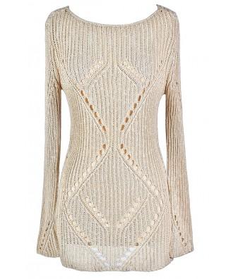 Cute Beige Sweater, Beige Open Knit Sweater, Beige Longer Length Sweater