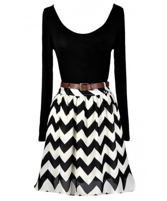 Black and Ivory Chevron Dress, Cute Chevron Dress, Cute Longsleeve Dress, Black and Ivory Chevron A-Line Dress, Black and Ivory Belted Chevron Dress