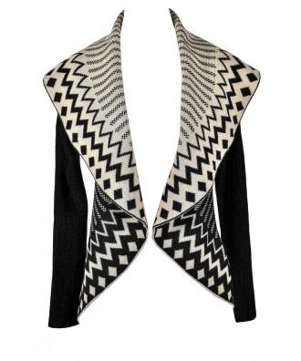 Black and Beige Geometric Sweater, Cute Black and Beige Top, Black and Beige Geometric Cardigan, Cute Geometric Sweater