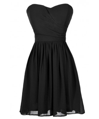 Cute Black Dress, Little Black Dress, Black Strapless Dress, Black Party Dress, Black Cocktail Dress, Black A-Line Dress